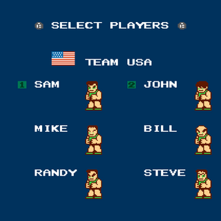 Character select screen of Bean Ball mode with a maximum of two players.