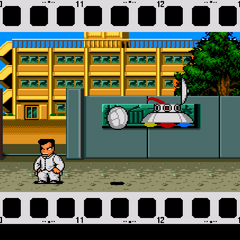 Quest Mode begins with Kunio being attacked by... aliens?!