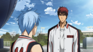 Kuroko and Kagami outside the WC building