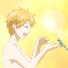 Finnian and his bird.