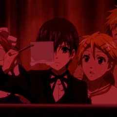Finnian, Mey-Rin, Baldroy and Ciel develop Finnian's photograph to test the camera.