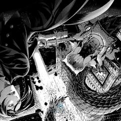 Sebastian, fighting a gigantic snake.