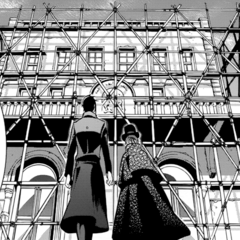 Ciel and Sebastian standing in front of the second <a href=