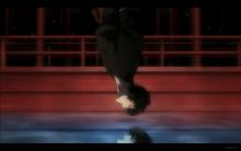 Benkei Falls and See's Kuro as His Reflection
