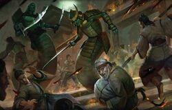 Dark Naga fighting in the streets