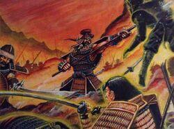 Gaheris fighting Tsuneo's legions