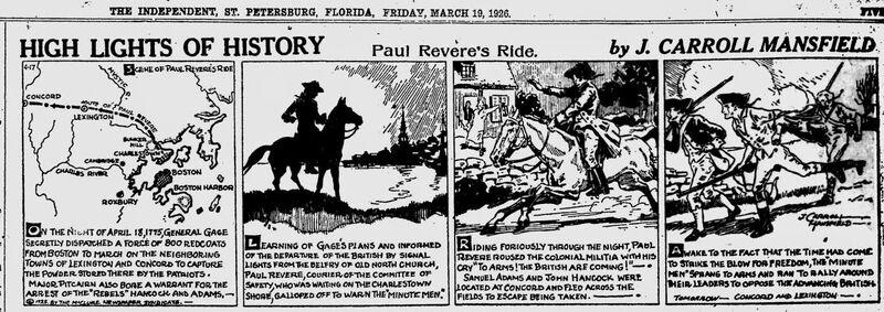 PaulReveresRide HighLightsofHistory JCarrollMansfield EveningIndependent Mar191926