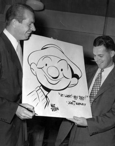 9.23.1948-Cartoonist Walt Ditzen showing Joe Earley-CLE-MEM-PROJ