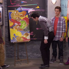 Donald looks at the painting