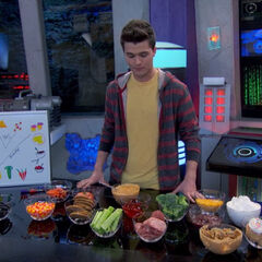 Adam with a lot of food