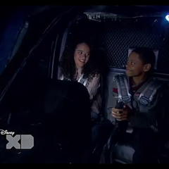 Janelle and Leo in the helicopter