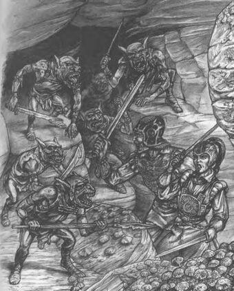 Emboscada goblins por Tony Ackland