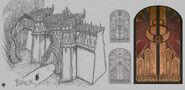 Warhammer Online Ciudad Ineludible Muro boceto por Michael Phillippi