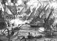 Man O'War Batalla naval por John Blanche