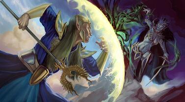 Ataques Mágicos por Jeffrey Himmelman Mago Altos Elfo Hechicera Elfa Oscura