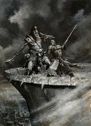 Ilustración Bretonia por Paul Dainton Marcus de Bordeleaux contra Svengar de los Skaelings