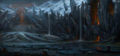Paso del Fuego Negro arte conceptual Warhammer Total War