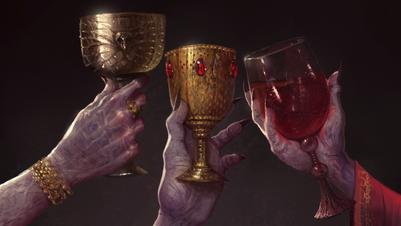 Vampiros brindando arte Warhammer Total War