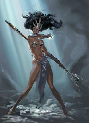 Hechicera Elfa Oscura por Gergely Fejervary Warhammer Mark of Chaos