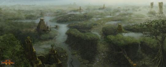 Lustria pantanos warhammer total war concept art por Jim Russell