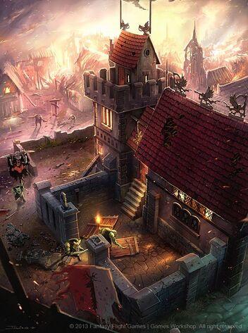 Orcos y Goblins saqueando asentamiento del Imperio por Julian Kok Art