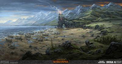 Bahía negra barcos warhammer total war arte conceptual por Michal Gutowski