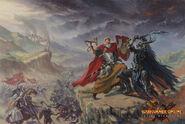 La Muerte de Praag por Karl Kopinski Sacerdote Guerrero contra Campeón del Caos