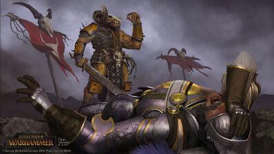 Ojo por ojo Facción Hombres Bestia por Milek Jakubiec Warhammer Total War Khazrak el Tuerto derrota a Boris Todbringer