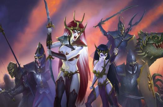 Variedad guerreros elfos oscuros concept art warhammer total war