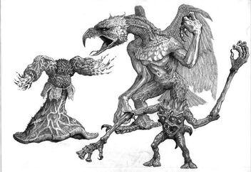Demonios de Tzeetnch Realm of Chaos por Tony Ackland