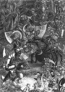 Caos contra Goblins Silvanos por John Blanche Guerreros Hombres Bestia