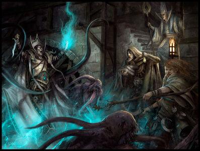 Portada Los Vientos de Magia por Daarken Hechicero Caos Imperio Mago Alto Elfo
