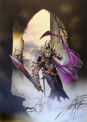 Malus Darkblade por Wayne Reynolds Portada de Warhammer Monthly Nº7