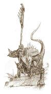 Boceto Guerrero Saurio por Adrian Smith