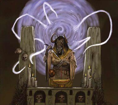 Bruja en ritual oscuro