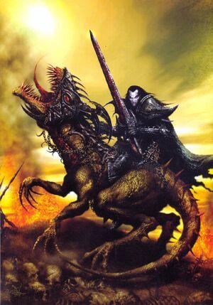Malus Darkblade y Rencor por Clint Langley Portada de Warhammer Monthly