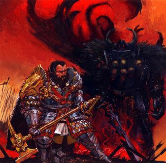 Valten y Archaon por Adrian Smith