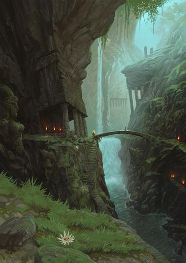Valle de Gaen Cascada por Jonathan Kirtz Warhammer Online Altos Elfos