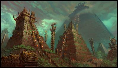 Ciudad Templo Hombres Lagarto por Jonathan Kirtz
