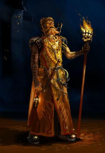 Hechicero Brillante de Batalla del Imperio por Gergely Fejervary Warhammer Mark of Chaos
