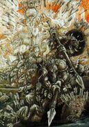 Guerreros Saurios recibiendo flechas por John Blanche