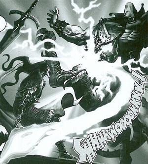 Malus matando a Ogro Dragón