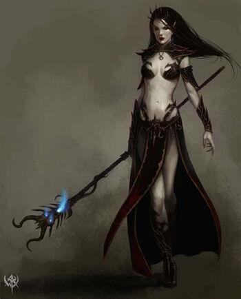 Warhammer age of reckoning conceptart Hechicera Elfa Oscura (1) Daarken