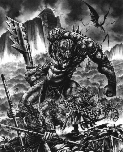 Kroxigor y Eslizones por Mark Gibbons