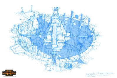 Pirámide Templo warhammer total war concept art por Jim Russell