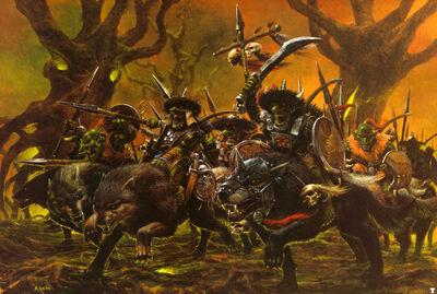 Jinetes de Lobo Goblins por Adrian Smith
