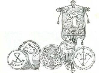 Estandarte elfico y escudos