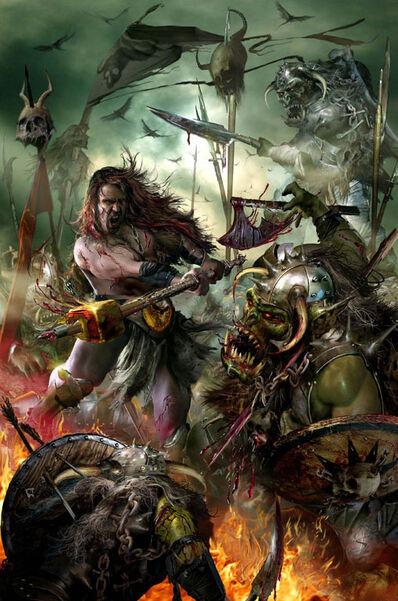 Portada La leyenda de Sigmar Heldenhammer por Jon Sullivan Orcos
