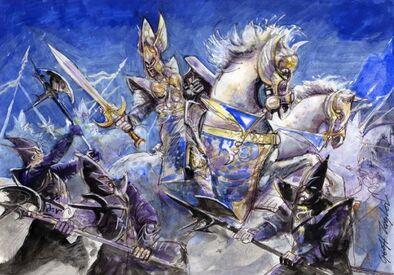 Boceto carta Saberthoot Yrlis Bluestorm por Geoff Taylor Héroe Altos Elfos contra Guardia Negra