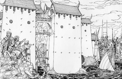 Barrio Élfico Marienburgo por Russ Nicholson